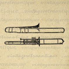 Printable Image Two Trombones Download by VintageRetroAntique