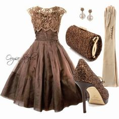 beautiful taupe brown taffeta, lace bodice waltz-length cocktail dress with beaded clutch & heels - long tan gloves with cream pearl buttons ...