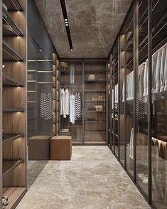 """257 curtidas, 7 comentários - TE Arquitetura + Interiores (@arqthaizaev) no Instagram: """"A-PAI-XO-NEI NESSE CLOSET‼️ Portas em vidro, deixando tudo aparente. Piso e teto com o mesmo…"""""""