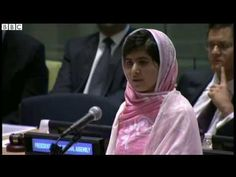 Malala Yousafzai - a powerful and inspiring speech to the UN.  Malala survived a shot in the head from the Taliban for going to school, and now she speaks for the right of all young people to free, compulsory education.
