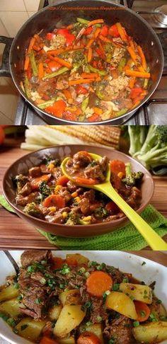 Carne com Legumes - Main meals - Recetas No Salt Recipes, Cooking Recipes, Healthy Recipes, Mexican Food Recipes, Ethnic Recipes, Quick Easy Dinner, Main Meals, Diy Food, Food And Drink