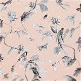 classic bird of nature baby pink and green wallpaper