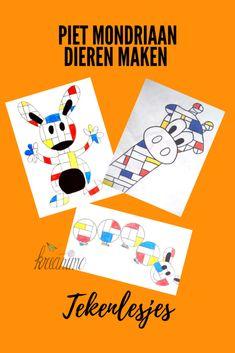 Mondrian animal drawings for kids - Kreanimo Piet Mondrian, Mondrian Kunst, Art Lessons For Kids, Art Lessons Elementary, Art For Kids, Art Drawings Beautiful, Art Curriculum, Math Art, Fantasy Kunst