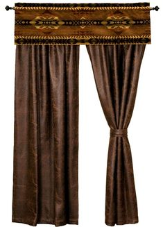 Stampede Valance Colt Coffee Brown Faux Leather Drapery Set rustic western southwestern window curtains wooded river authorized retailer