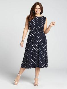 Laura Plus | Polka Dot Print Ruched Waist Dress - Navy & White
