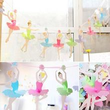Wedding Paper Flags Ballet Girl Ballerina Party Bunting Banner For Party Favors Kids Birthday Party Decoration(China (Mainland))