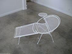Mid-Century Pair Maurizio Tempestini for Salterini White Chaise-Lounges w Tables