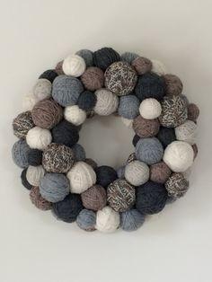 Handmade Winter Wreath.  Winter Yarn Ball by EmbellishedLiving