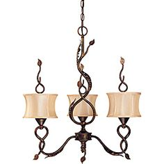 @Overstock - Add this whimsical three-light chandelier to any room in your home for added sophistication. It features columns and arms of autumn gold that twist and bend to appear to be following a path. The chandelier holds three candelabra bulbs.http://www.overstock.com/Home-Garden/Trellio-Chandelier-3-light-Autumn-Gold-Finish-with-Beige-Shantung-Shades/6579074/product.html?CID=214117 $109.99