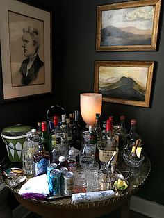 There comes a time in every adult's life when a bar cart just won't do anymore. In which case, it might be time to upgrade to a bar cabinet. Home Bar Decor, Bar Cart Decor, Bar Cart Styling, Home Bar Cabinet, Modern Home Bar, Bar Tray, Luxury Bar, Gold Bar Cart, Home Bar Furniture