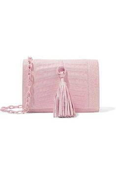 Nancy Gonzalez - Tassel-trimmed Crocodile Shoulder Bag - Pastel pink - one size