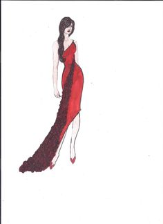 Red Evening Gown with Roses