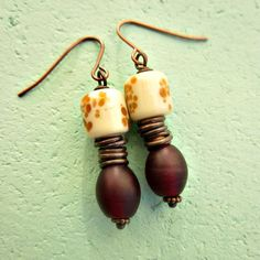 Deep Red Cream and Rustic Copper Beaded Dangle by studioRenee
