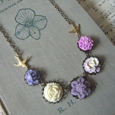 """""""SHADES OF LILAC"""" Floral Statement Necklace - Bridal Jewellery"""