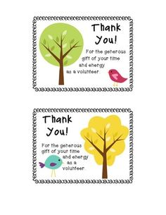 Thank You Postcards for your Parent Volunteers
