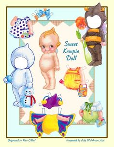kewpie doll and cistumes cut outs