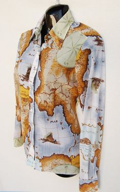 Vintage Groovy Scenic Map Blouse Top Womens M by RipCityRetro