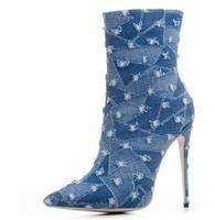 c6d3c39fe4a Original Intention Elegant Women thin high heel denim Ankle Boots Poin – Funky  Fun Style