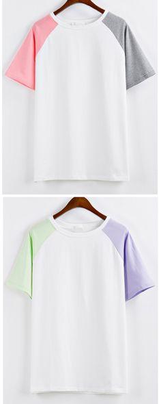 You're about to look so fresh. Only $11.90 -Any which way you wrap it, the Raglan Sleeve Color-block T-shirt is one amazing clothing! What better time than now to treat yourself to a new top! More loves picked for you at m.shein.com !
