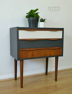 Teak blue and white mid century table. Like the contrast of the teak handle against the blue. Mid Century Modern Dresser, Mid Century Modern Furniture, Stained Table, Painted Chest, Burnham, Mineral Paint, Mid Century House, Furniture Projects, Color Inspiration