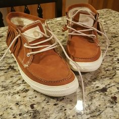 Women's size 8 fringe leather Converse Brown leather fringe Converse size 8.  Barely worn and in EUC.  NO TRADES. Converse Shoes