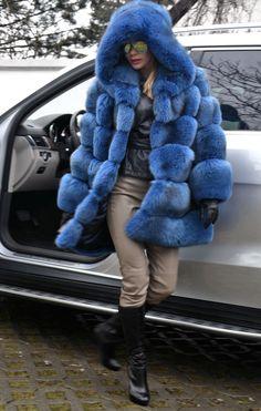 Blue Royal Saga FOX FUR Coat Hood Like Jacket Sable Mink Lynx Silver Chinchilla | eBay
