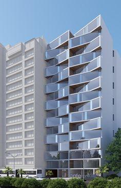 Apartment Facade Design Architecture Projects Ideas For 2019 Social Housing Architecture, Unique Architecture, Commercial Architecture, Facade Architecture, Residential Architecture, Building Exterior, Building Facade, Building Design, Modern Buildings