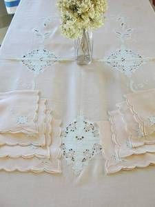 Glorious Pink White Linen Madeira Roses Cutwork Lace Tablecloth Napkins | eBay Vintageblessings