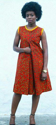 Ankara Print Dress African Print Dresscotton by JuanJayzzDesign More. Love the retro look African Print Dresses, African Dresses For Women, African Attire, African Wear, African Fashion Dresses, African Women, African Prints, African Inspired Fashion, African Print Fashion