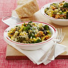 Grilled corn and broccoli add satisfying crunch to this tricolor pasta salad.