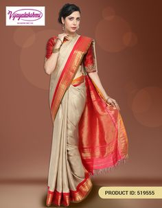 #Traditionalsilksaree #Silksareesonline #Onlineshopping #Fashionista #Sareeslove #Gadwal  Beige/Off white gadwal traditional silk saree comes with silk zari buttas woven and comes with contrast red kuttu zari border with traditional small rudraksha and mango motifs and with olive green piping.  http://www.vijayalakshmisilks.com/pearl-white-gadwal-traditional-wear-party-wear
