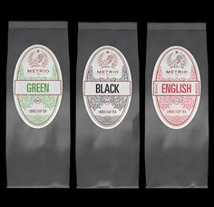 Metrio Tea is an extension of the Metrio brand (coffee featured here). The line includes 5 district flavors. The wave textures were inspired by tea hills forms. The modern and strong font was chosen to stand out in a big market.