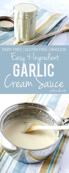 This Garlic Cream Sauce has only 4 ingredients and takes just minutes to make!  | PaleoScaleo.com