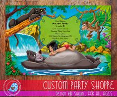 JUNGLE BOOK Birthday Invitaiton Disney Jungle by CustomPartyShoppe, $7.50