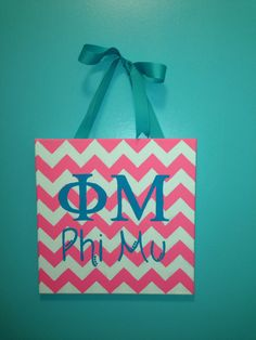 Hand painted 12x12 sorority letters canvas with by DesignsbyHaylee, $20.00 (Eyes Wide Open font. Colors as displayed. Sigma Delta Tau w/ Greek Letters on the canvas)