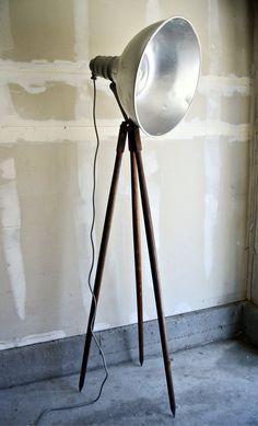 Reclaimed Wooden Tripod Floor Lamp - Large Industrial Studio Light