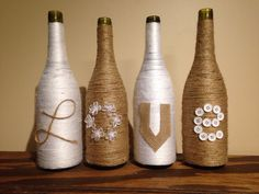 Love wine bottle vases-set of 4 twine and by WineBottleGlows