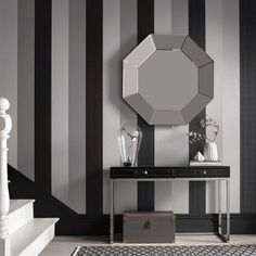 Shop contemporary wallpaper designs from Graham and Brown! Beautiful wall decor for your home! Metallic Stripe Wallpaper, Black Textured Wallpaper, Brown Wallpaper, Black And White Wallpaper, Metallic Wallpaper, Hall Wallpaper, Dining Room Wallpaper, Black And White Dining Room, Black White