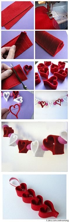 Valentine Heart Chain + Felt Ornament & Garland Ideas Heart garland - super cute and SO easy! Use red and alternated with cotton balls (easier to string).Heart garland - super cute and SO easy! Use red and alternated with cotton balls (easier to string). Valentines Bricolage, Valentine Day Crafts, Valentine Decorations, Valentine Heart, Holiday Crafts, Holiday Fun, Heart Decorations, Homemade Valentines, Table Decorations
