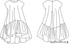 Elegant Summer Dresses, Nice Dresses, Sewing Clothes, Diy Clothes, Kimono Fashion, Fashion Dresses, Flat Sketches, Dress Sketches, Minimal Dress