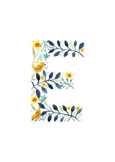 D F Floral Monogram Letter Print. Watercolor Lettering, Watercolor Cards, Floral Letters, Monogram Letters, Flower Frame, Flower Art, Cute Fonts Alphabet, Letter Wall Art, Pretty Drawings