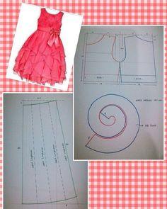 Best Ideas For Dress Diy Pattern Ruffles Frock Patterns, Kids Dress Patterns, Baby Patterns, Clothing Patterns, Fashion Kids, Fashion Sewing, Robe Diy, Costura Fashion, Dress Tutorials