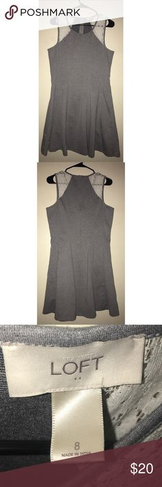 LOFT Gray Dress Ann Taylor LOFT Gray Dress with White Shoulder details. Size 8, very comfortable and stretchy material. Great condition, NEVER WORN. LOFT Dresses