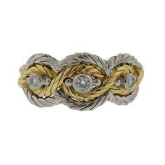Buccellati 18k Gold Diamond Three Stone Ring