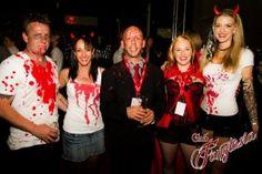 Matt Le Guier, Kim Grimshaw, Paul Tsoumbakos, Rachel Tsoumbakos and Sherryn Pickering all bloodied up for Club Fangtasia's True Blood event