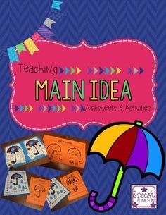 Speech Time Fun: Teaching Main Idea Worksheets and Activities!!