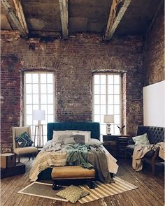25 Breathtaking Industrial Bedroom Decor That Will Inspire You Loft Design, House Design, Modern Design, Design Design, Warehouse Living, Warehouse Loft, Loft Stil, Style Loft, Loft Style Bedroom