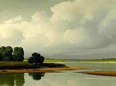 Paisajismo al óleo por el neo-realista francés De Clausade.
