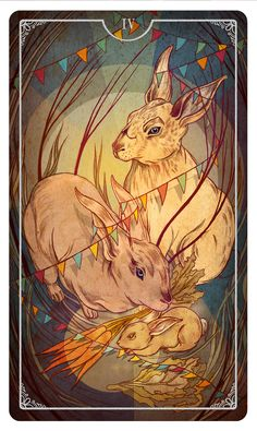 Four of Wands - Julia Iredale For the upcoming Ostara Tarot Deck