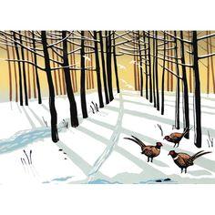 Rob Barnes Linocut at Norton Way Gallery Hertfordshire Winter Cards, New Print, Pheasant, Close Image, Natural History, Printmaking, Woodland, Original Paintings, Greeting Cards